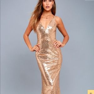Lulu's gold sequin gown